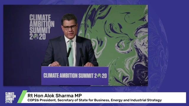 Rt Hon Alok Sharma MP<br>COP26 President, Secretary of State for Business, Energy and Industrial Strategy